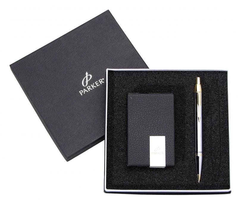 派克 PK-B353 經典金鉻鋼珠筆+名片夾禮盒